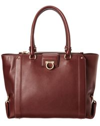 Ferragamo Luisa Large Leather Tote - Brown
