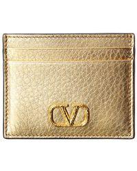 Valentino Garavani Vlogo Metallic Leather Card Holder