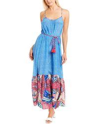Paolita Ruffle Silk Maxi Dress - Blue