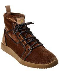 Giuseppe Zanotti Velvet & Leather Sneaker - Brown