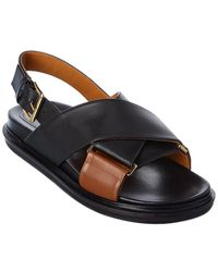Marni Fussbet Leather Sandal - Black