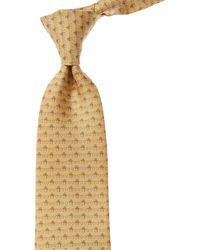 Ferragamo Yellow Valentine's Print Silk Tie
