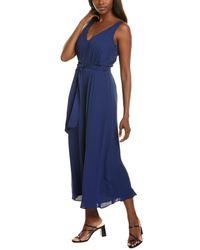 Donna Karan Pleated Maxi Dress - Blue