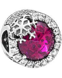 PANDORA Cerise Moments Silver Cz Sparkling Cerise Pink Snowflake Charm