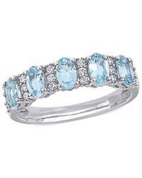 Rina Limor 14k 1.41 Ct. Tw. Diamond & Aquamarine Ring - Blue