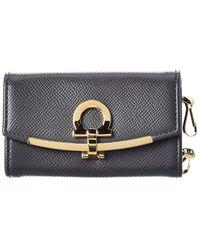 Ferragamo Leather Key Holder - Grey