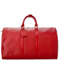Louis Vuitton Red Epi Leather Keepall 50