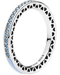 PANDORA Silver & Light Blue Crystal Radiant Hearts Ring