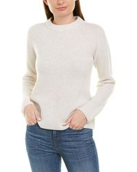 Vince Ribbed Cashmere Pullover - White