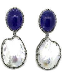 Arthur Marder Fine Jewelry Silver 1.40 Ct. Tw. Diamond, Tanzanite, & 19-25mm Pearl Earrings - Metallic