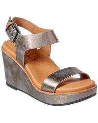 Gentle Souls Judi Strappy Leather Wedge Sandal - Brown
