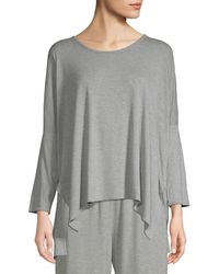 Skin Heathered Rib-sleeve Top - Grey