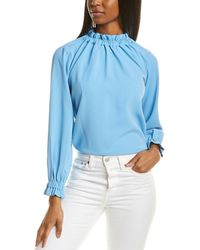 Sail To Sable Ruffle Neck Top - Blue