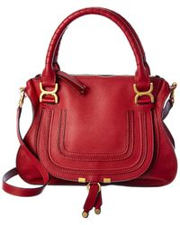 Chloé Marcie Small Leather Satchel - Red