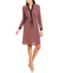 Anne Klein Carlyle Stripe Shirtdress - Red