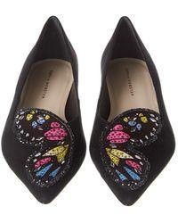 Sophia Webster Butterfly Embellished Suede Flat - Black