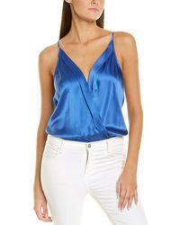 Michelle Mason Silk Wrap Bodysuit - Blue