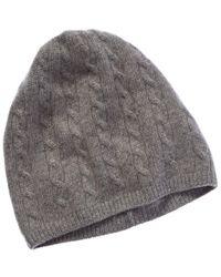 Portolano Cashmere Gray Cable Beanie Hat