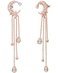 Gabi Rielle Rose Gold Over Silver Cz Celestial Moon Earrings - Metallic
