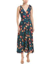Betsey Johnson Floral Print Shoulder - Tie Midi Dress - Blue
