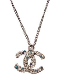 Chanel - Silver-tone Pearl Studded Cc Necklace - Lyst
