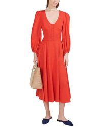STAUD Birdie Linen-blend Midi Dress - Red
