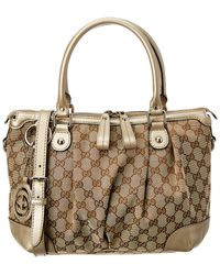 e51a2a0c1d8d70 Gucci - Brown GG Canvas & Gold Leather Sukey Bag - Lyst