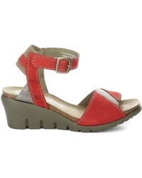 Fly London Imat Leather Comfort Wedge Sandal - Red