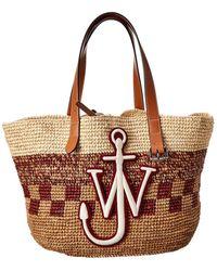 JW Anderson Raffia & Leather Tote - Brown