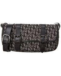 Dior Black Monogram Canvas Shoulder Bag