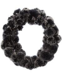 Surell Accessories Pompom Loop Scarf - Black