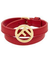 Fendi - F Is Leather Double Wrap Bracelet - Lyst