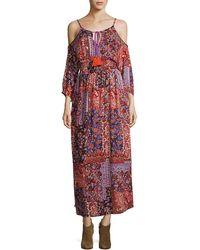 Raga Sunset Vista Cold-shoulder Maxi Dress - Purple