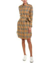 Burberry Vintage Check Cotton Tie-waist Shirt Dress - Multicolor
