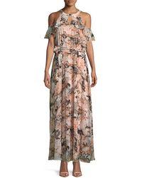 Calvin Klein Cold-shoulder Maxi Dress - Natural