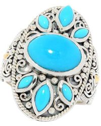 Samuel B. 18k Over Silver 3.75 Ct. Tw. Sleeping Beauty Turquoise Balinese Design Ring - Multicolour