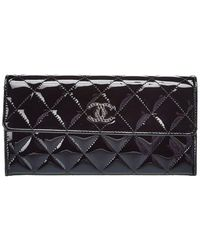 Chanel Black Quilted Patent Leather Brilliant Single Flap Long Wallet