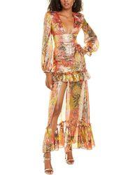 Dundas Plunge Silk-blend Maxi Dress - Metallic