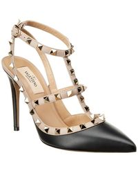 Valentino - Cage Rockstud 100 Leather Ankle Strap Pump - Lyst