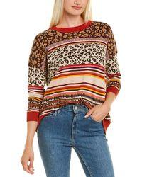 Autumn Cashmere Cotton By Boxy Leopard & Fairisle Sweater - Orange