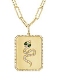 Sabrina Designs 14k 0.43 Ct. Tw. Diamond & Tsavorite Snake Necklace - Metallic