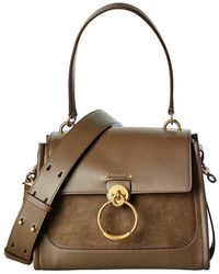 Chloé Tess Day Small Leather & Suede Shoulder Bag - Brown