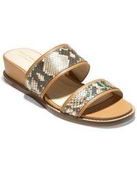 Cole Haan Wesley Demi Leather Wedge Sandal - Metallic