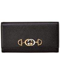 Gucci Zumi Grainy Leather Continental Wallet - Black