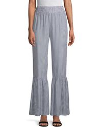 Young Fabulous & Broke Striped Bell-bottom Pant - Blue