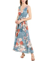Johnny Was Jade Silk Maxi Dress - Blue