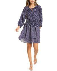 Bobeau Smocked Mini Dress - Blue