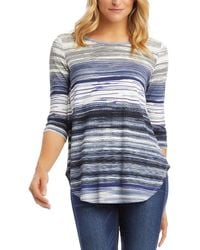 Karen Kane 3/4-sleeve Shirttail Top - Blue