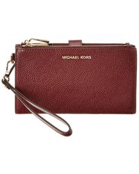 MICHAEL Michael Kors Double Zip Leather Wristlet - Red