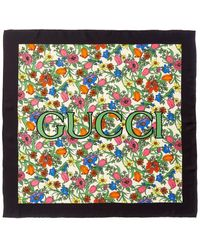 Gucci Pop Floral Print Silk Scarf - White